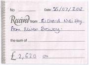 Receipt from Arthur Rank Hospice in 2012