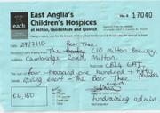 Receipt from Milton Children's Hospice in 2010