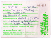 Receipt from Macmillan Cancer Support in 2008