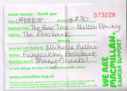 Second receipt from Macmillan Cancer Support in 2008